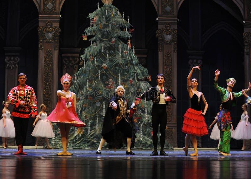 Meespelend gordijnvraag - de Balletnotekraker stock fotografie