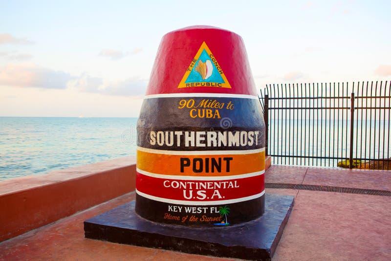 Meest zuidelijk punt in de continentale V.S. in Key West royalty-vrije stock afbeeldingen