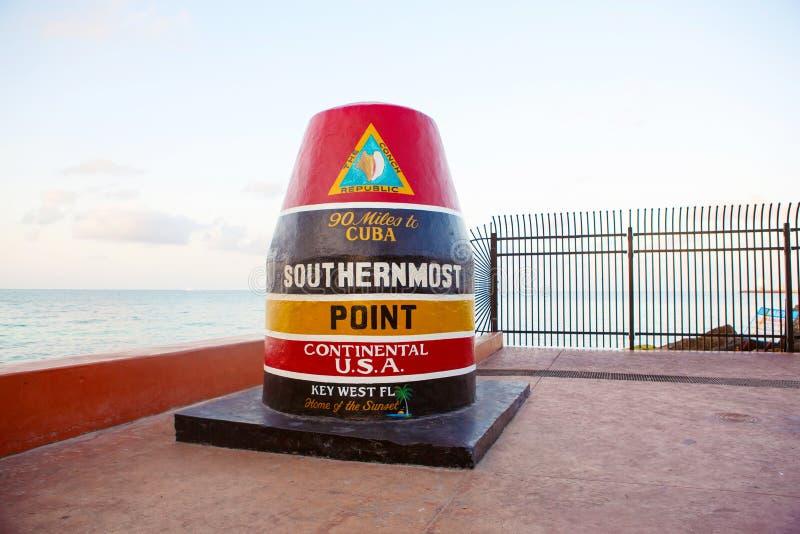 Meest zuidelijk punt in de continentale V.S. in Key West royalty-vrije stock afbeelding