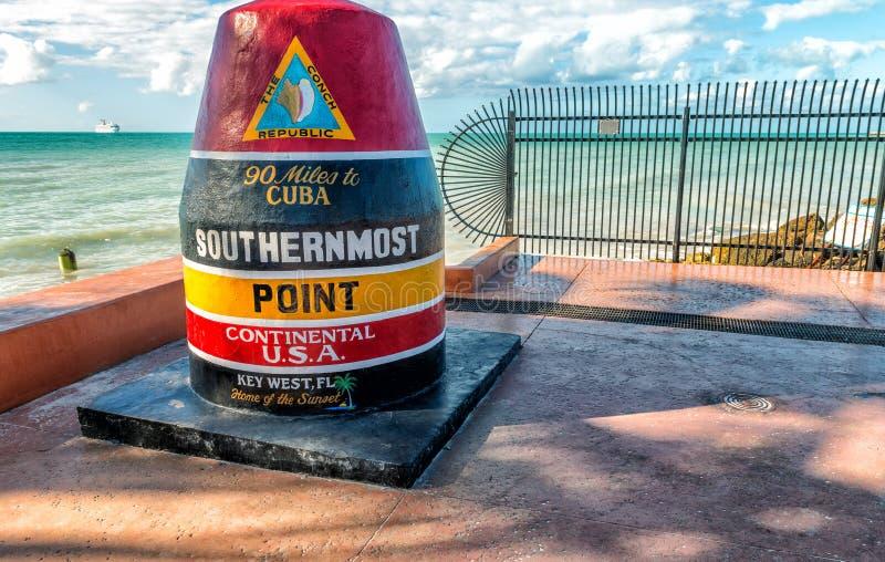 Meest zuidelijk Punt in Florida Het is het beroemde oriëntatiepunt van royalty-vrije stock afbeelding