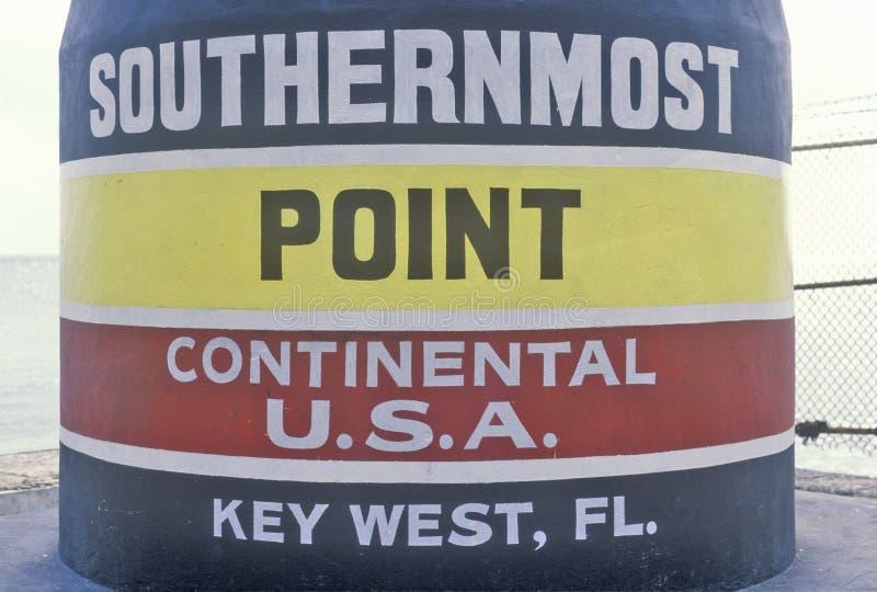 Meest zuidelijk punt van de continentale Verenigde Staten, Key West, Florida stock foto