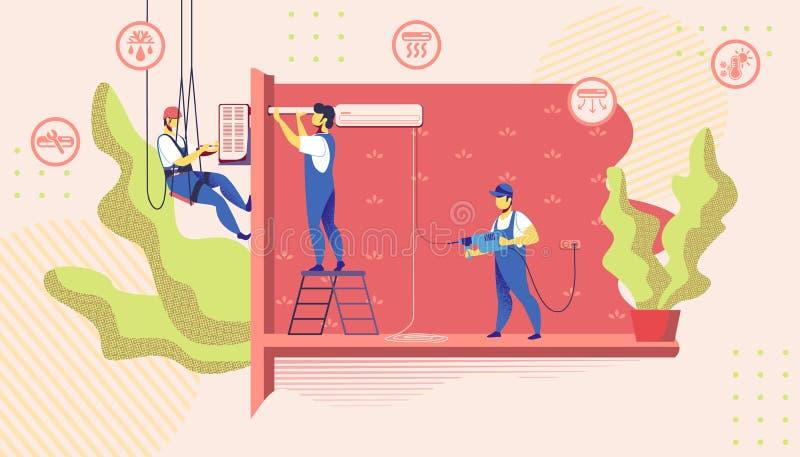Meesters die de Airconditioner van de Installatiereparatie doen vector illustratie