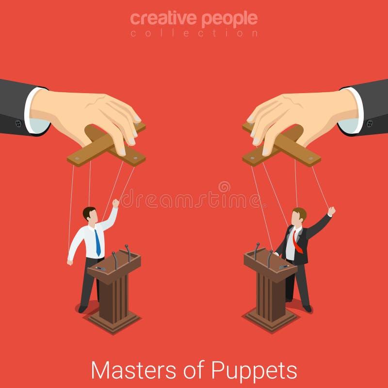 Meesters van de verkiezings vlakke 3d vector isometrisch van de Marionettenpolitiek vector illustratie