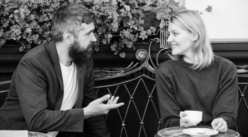 Meet become acquaintances. Meeting people first date. Couple terrace drinking coffee. Casual meet acquaintance public. Place. Romantic couple. Normal way to stock images