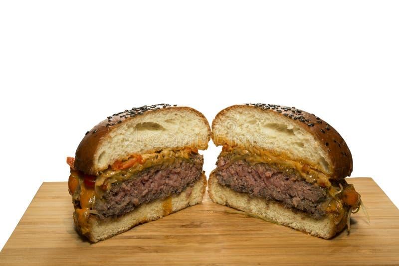 Meet burger cut in half stock photography