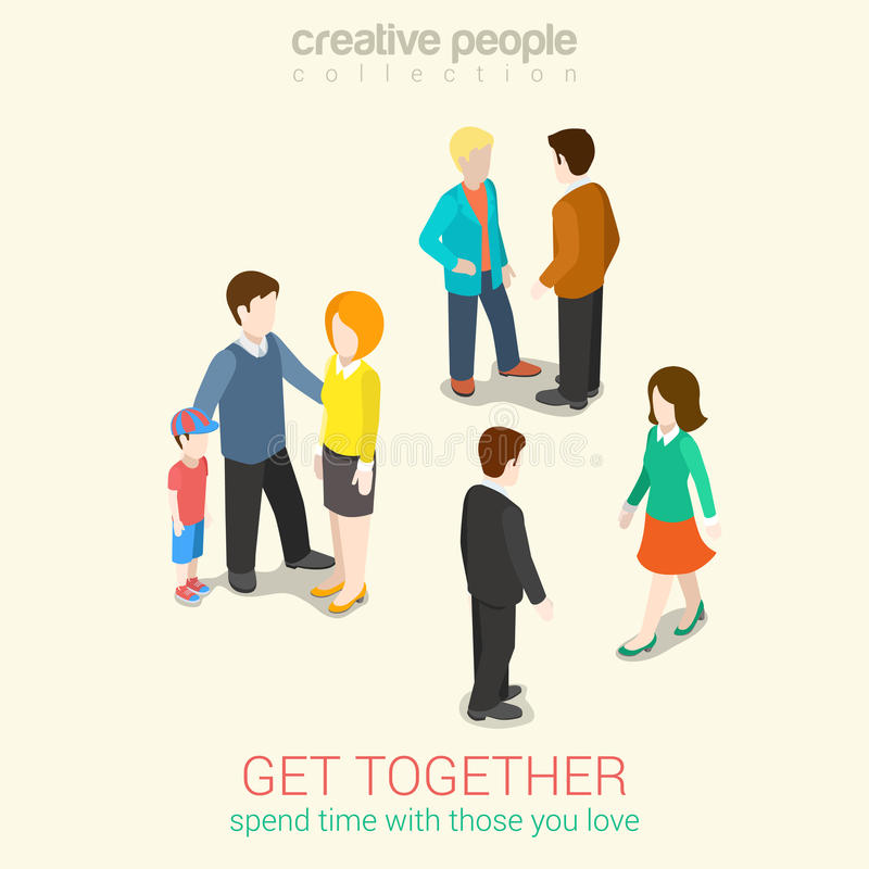 Meet people you love spend time flat 3d web isometric concept. Meet people you love and spend leisure time flat 3d web isometric infographic concept . Get royalty free illustration