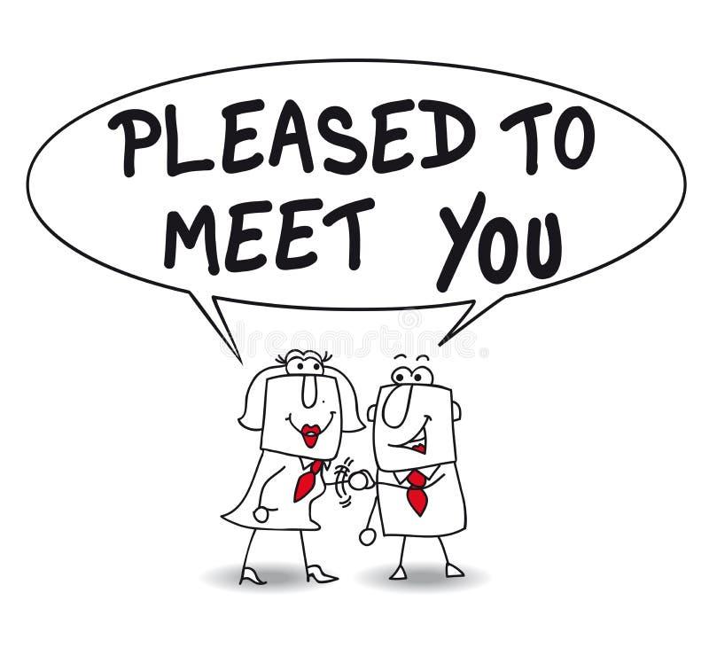 meet pleased till dig stock illustrationer