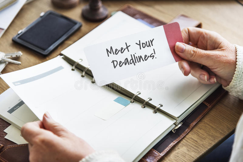 Meet Your Deadlines Appointment Events Concept. Meet Deadlines Work Appointment Concept stock photos