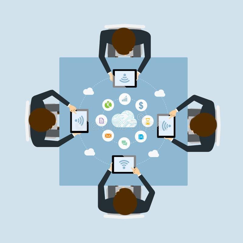 Meetimg del trabajo en equipo del negocio en línea por tecnología de la nube ilustración del vector