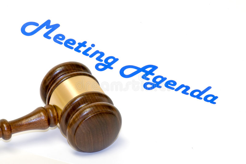 Meeting agenda and gavel royalty free stock images