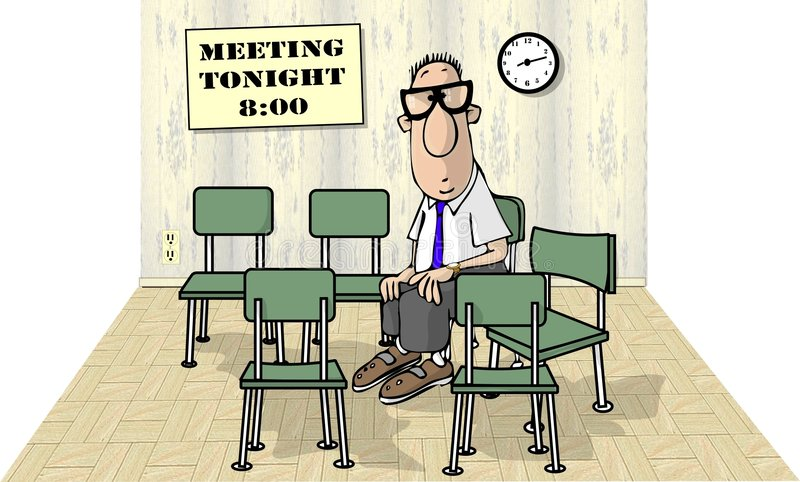 Meeting alone royalty free illustration