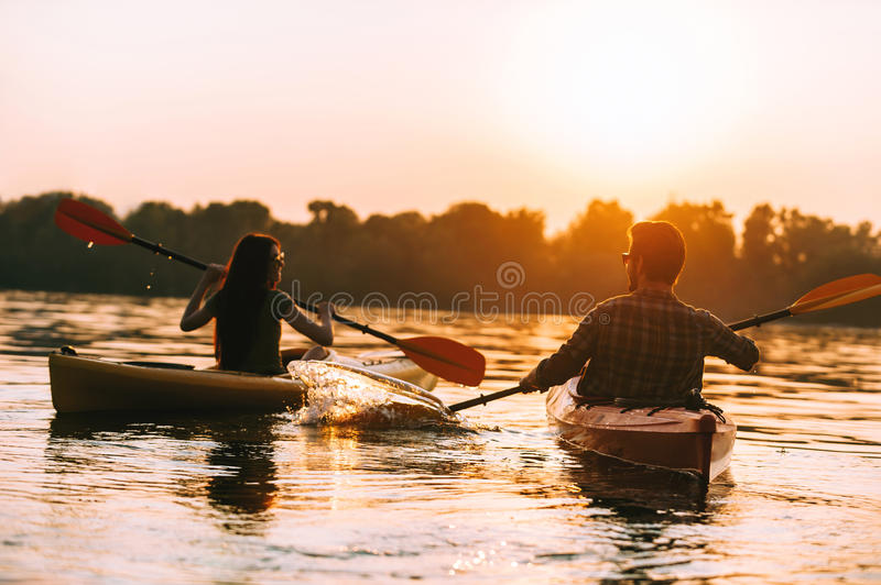Meeting the best sunset together. royalty free stock photo