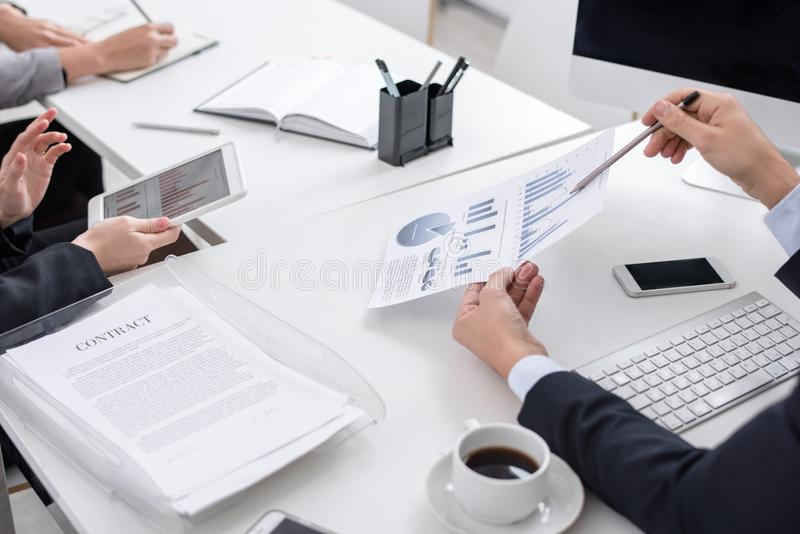Meeting of Business Analysts Close Up royalty free stock images