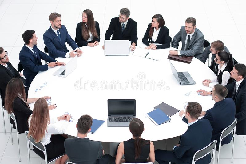Meeting business partners in the conference room. royalty free stock photos