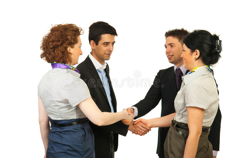 Meeting business people. Making acquaintance isolated on white background stock photos