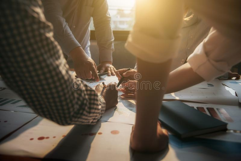 Meeting business people group corporate discussion investment and investment concept in conference room.  royalty free stock photography