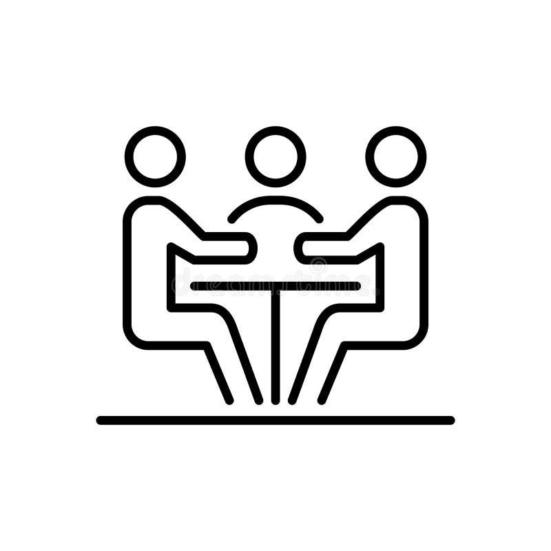 Meeting business people icon simple line flat illustration royalty free illustration