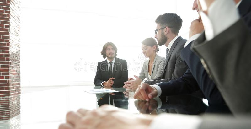 Meeting of business people. To discuss the corporate concept.photo with copy space royalty free stock photo