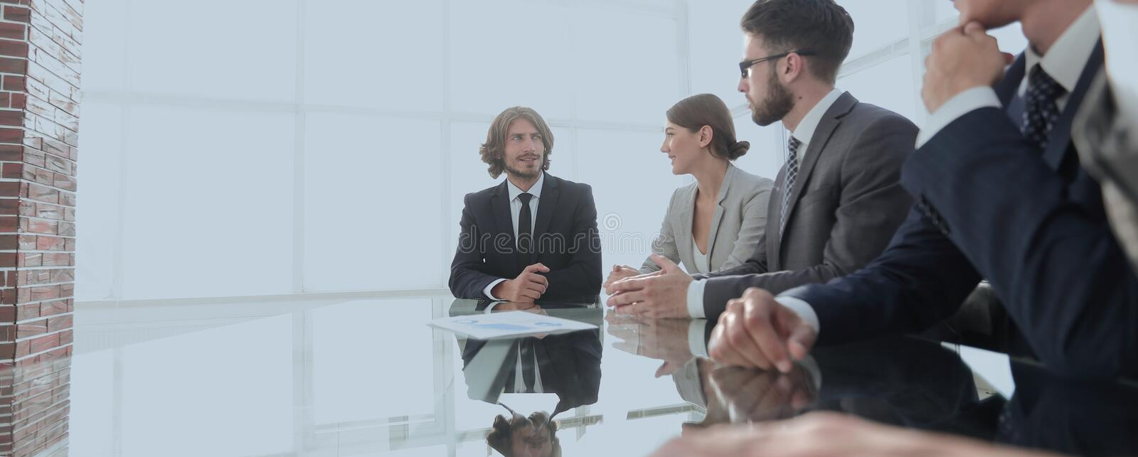 Meeting of business people. To discuss the corporate concept.photo with copy space royalty free stock photography