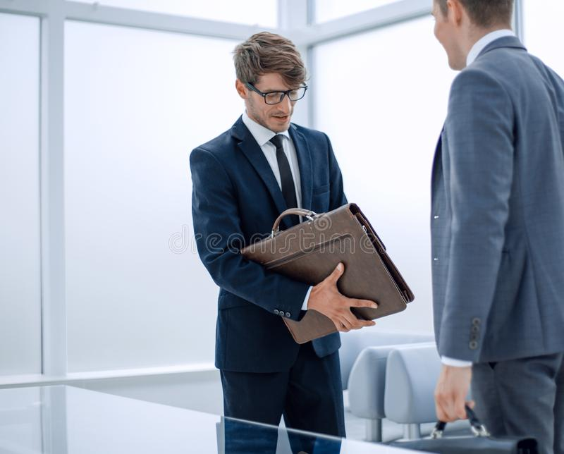 Meeting business people in a modern office. Office weekdays stock photography