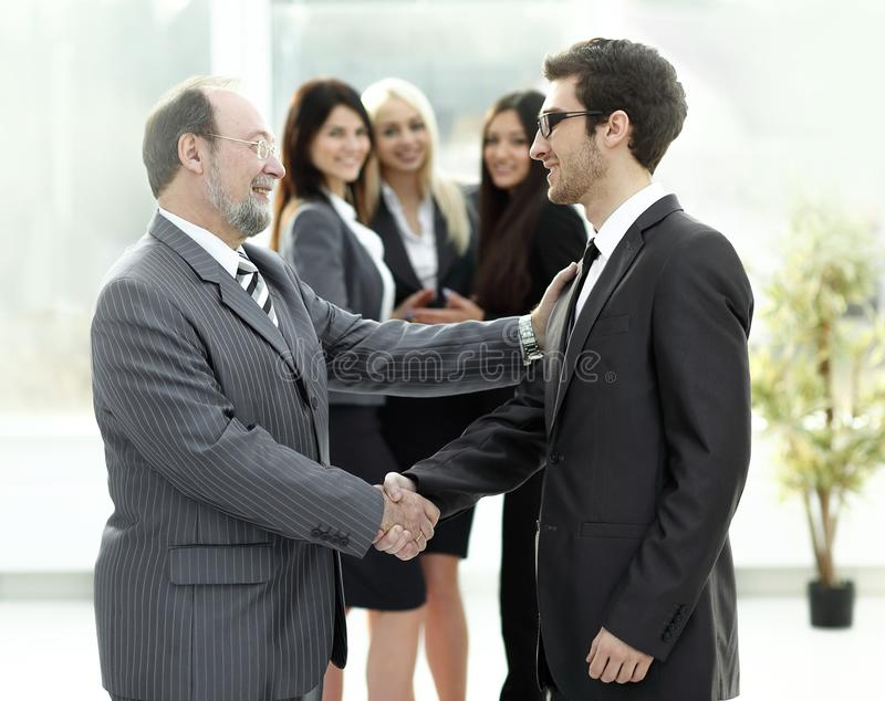 Meeting of business people in the office.business handshake. Photo with place for text stock photography