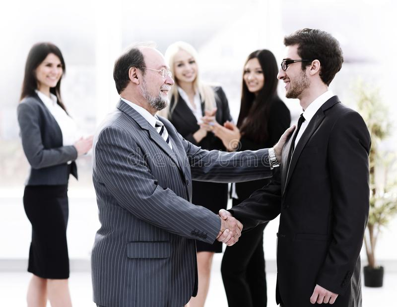 Meeting of business people in the office.business handshake. Photo with place for text royalty free stock image