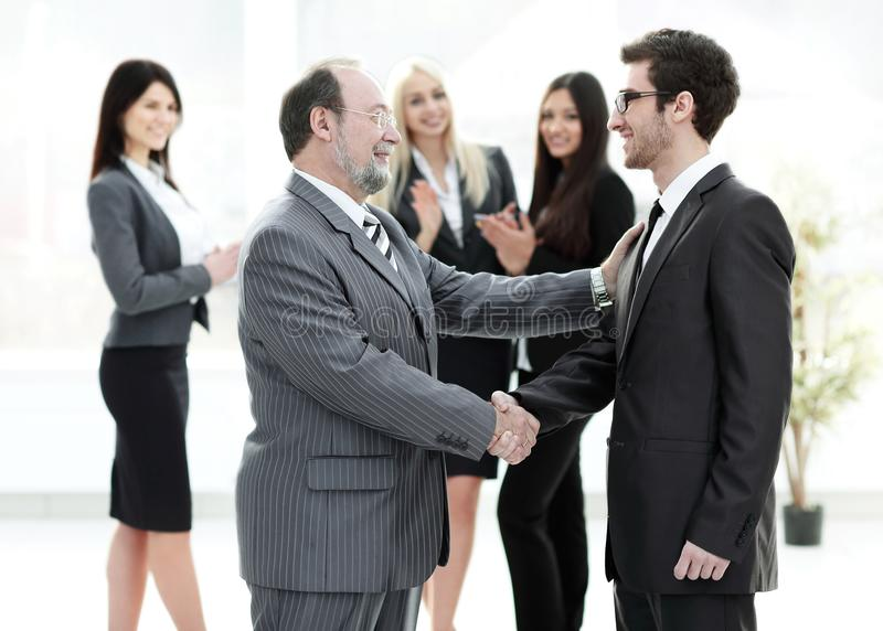 Meeting of business people in the office.business handshake. Photo with place for text royalty free stock photography