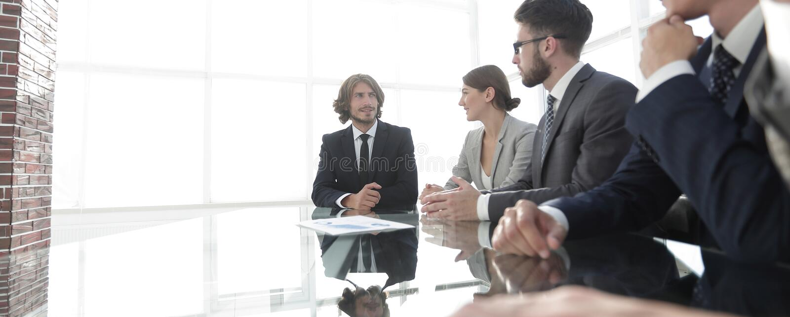 Meeting of business people. To discuss the corporate concept.photo with copy space stock image
