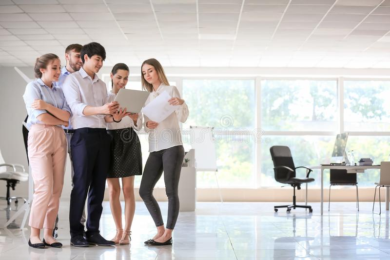 Meeting of business team working in office stock images