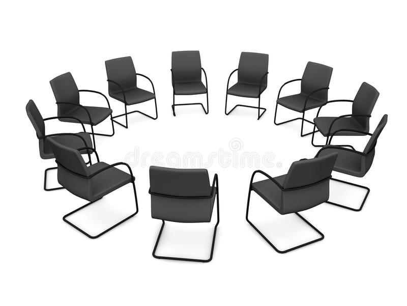 Meeting chairs. 11 chairs in circle and white background royalty free illustration