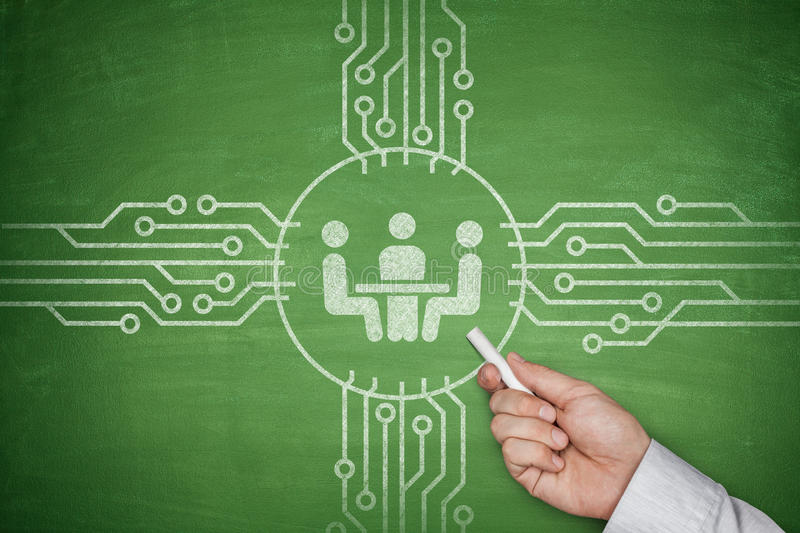 Meeting concept on blackboard stock images
