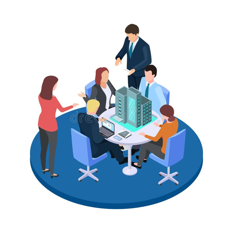 Meeting in a construction company, business dispute about apartment house isometric vector concept vector illustration