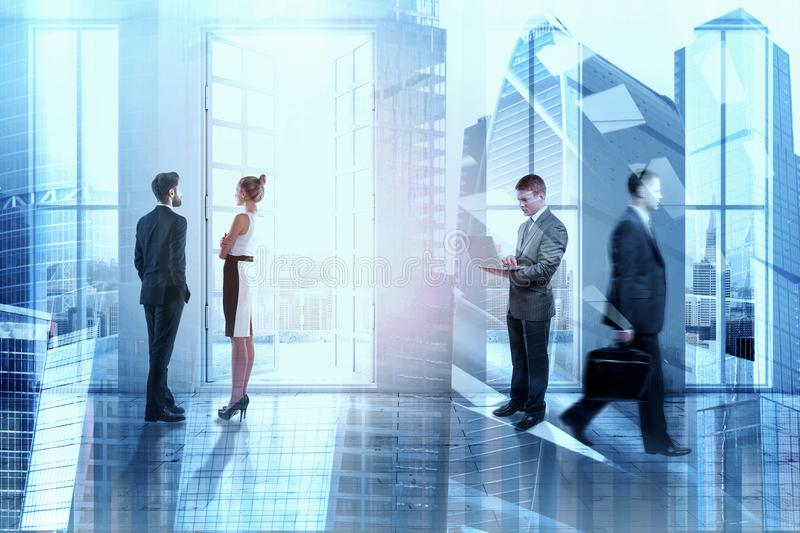 Meeting and crowd concept stock image
