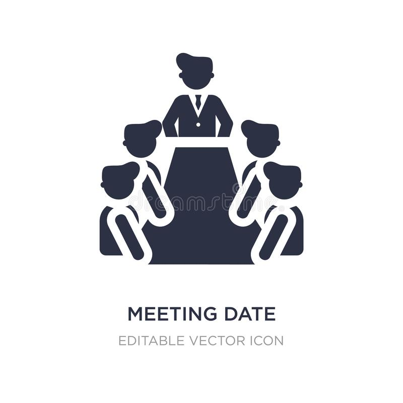 meeting date icon on white background. Simple element illustration from People concept royalty free illustration