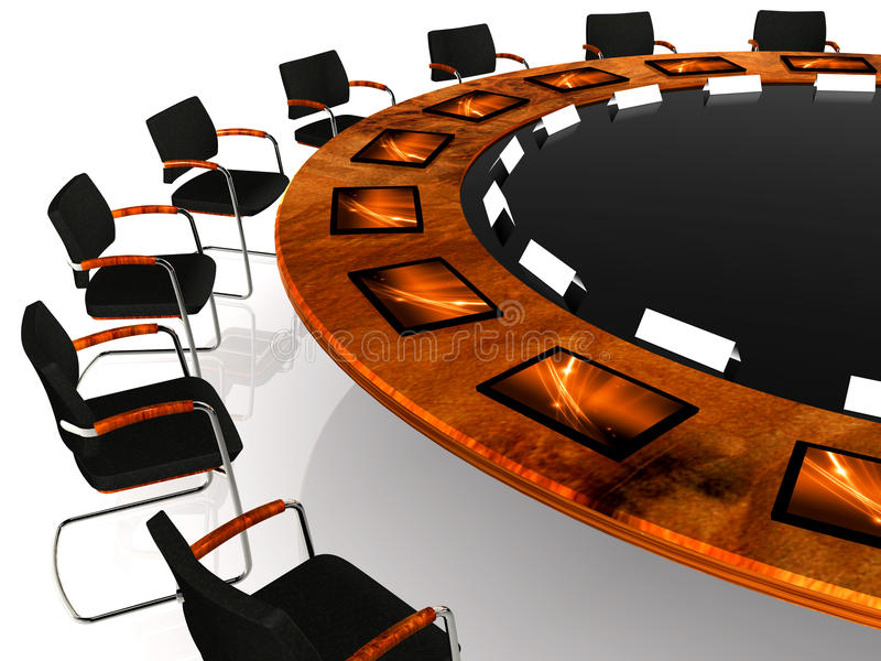 Meeting. Detail of a round table with communication tools royalty free illustration