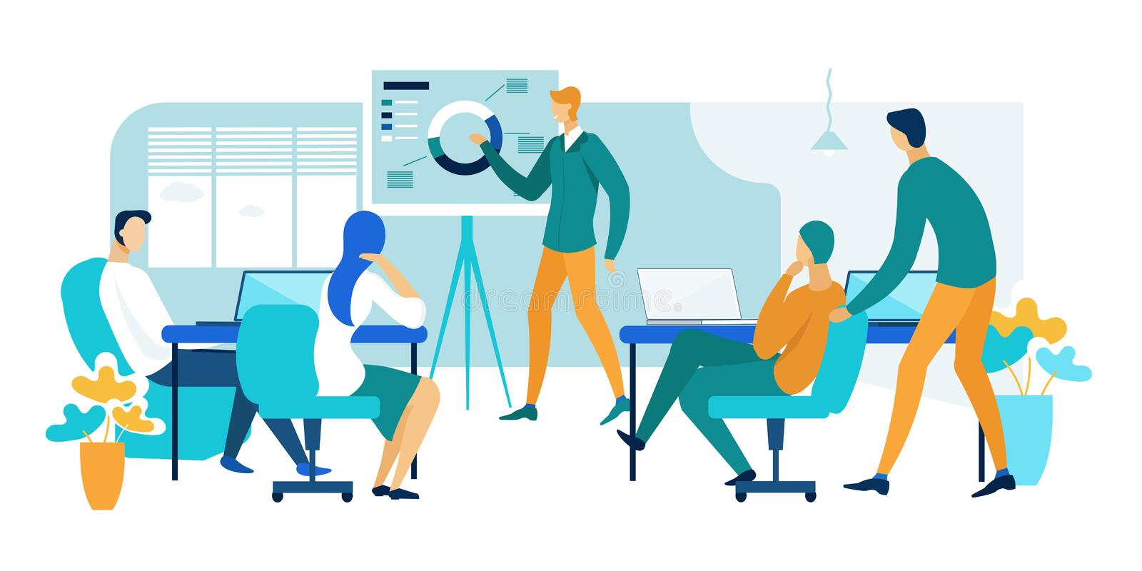 Meeting and Discussion in Office Cartoon Flat. royalty free illustration