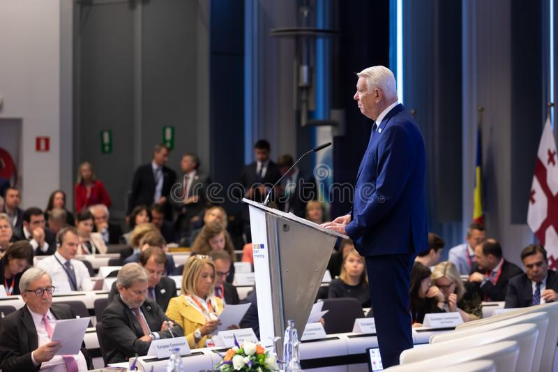 Meeting of EU leaders at the EU headquarters. BRUSSELS, BELGIUM - May 14, 2019: Meeting of EU leaders at the EU headquarters. High Level Conference for Eastern royalty free stock image