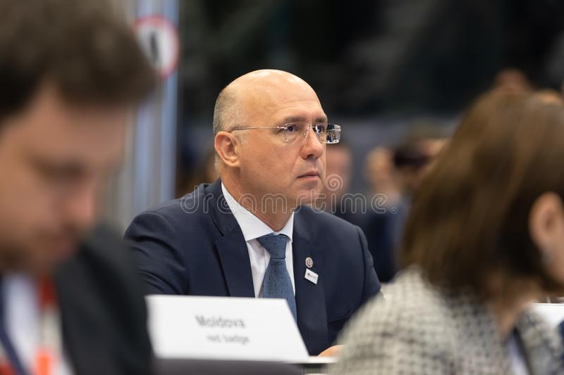 Meeting of EU leaders at the EU headquarters. BRUSSELS, BELGIUM - May 14, 2019: Eap Eastern Partnership. Meeting of EU leaders at the EU headquarters. High Level royalty free stock images