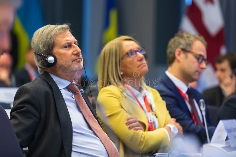 Meeting of EU leaders at the EU headquarters. BRUSSELS, BELGIUM - May 14, 2019: Eap Eastern Partnership. Meeting of EU leaders at the EU headquarters. High Level stock photo