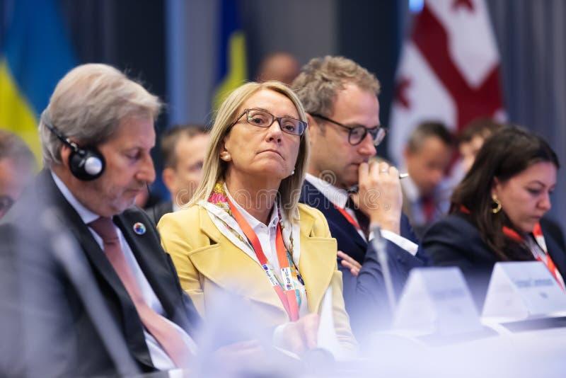 Meeting of EU leaders at the EU headquarters. BRUSSELS, BELGIUM - May 14, 2019: Eap Eastern Partnership. Meeting of EU leaders at the EU headquarters. High Level stock images