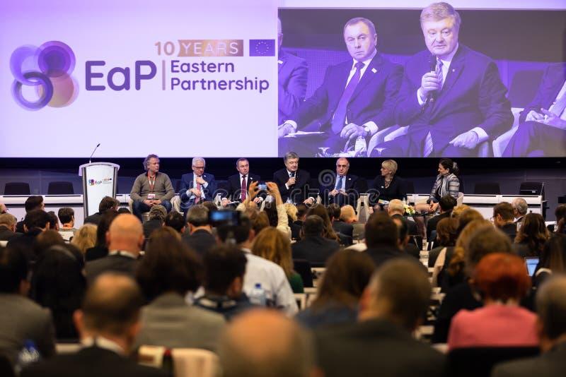 Meeting of EU leaders at the EU headquarters. BRUSSELS, BELGIUM - May 14, 2019: Eap Eastern Partnership. Meeting of EU leaders at the EU headquarters. High Level stock image