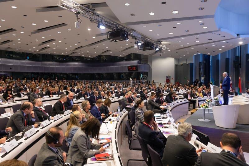 Meeting of EU leaders at the EU headquarters. BRUSSELS, BELGIUM - May 14, 2019: Eap Eastern Partnership. Meeting of EU leaders at the EU headquarters. High Level royalty free stock photos