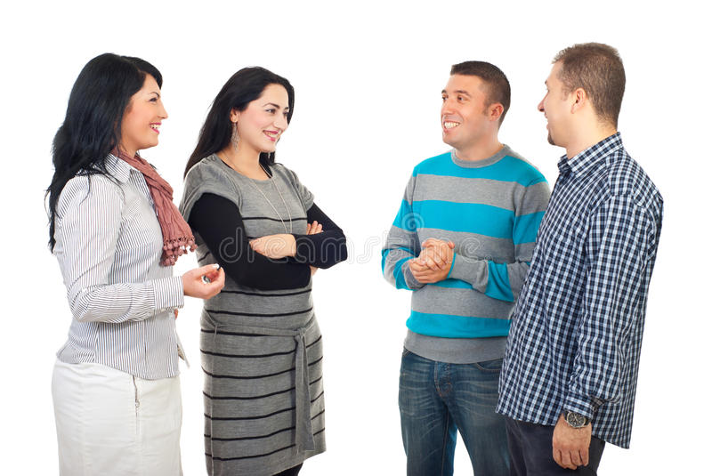 Meeting of four friends royalty free stock photos