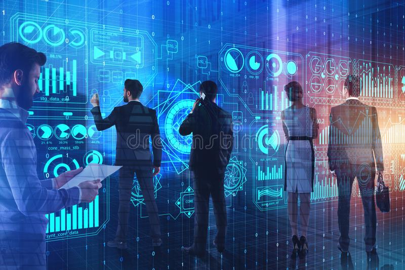 Meeting and future concept. Businesspeople using digital business screen on abstract city background. Meeting and future concept. Double exposure royalty free stock photography