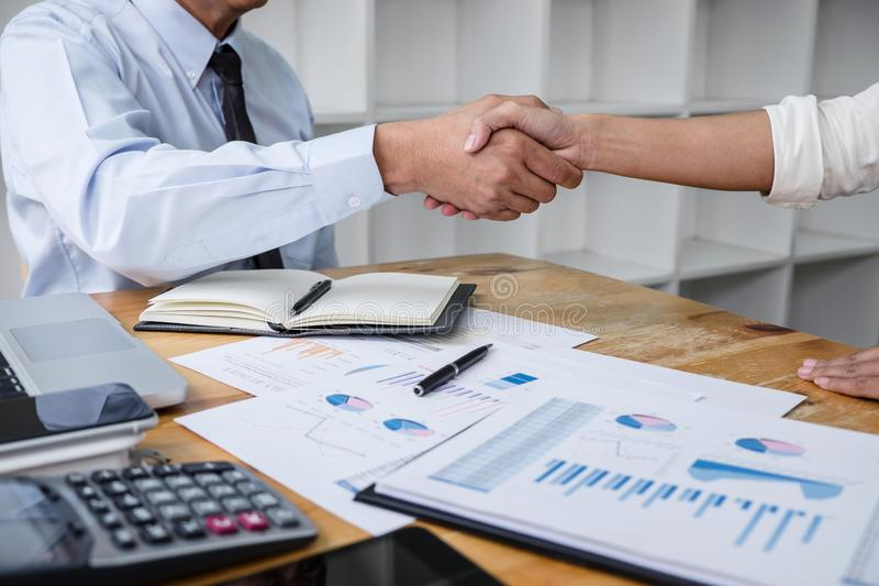 Meeting and greeting concept, Two collaboration business handshake and business people after discussing good deal of contract and. New projects for both stock images