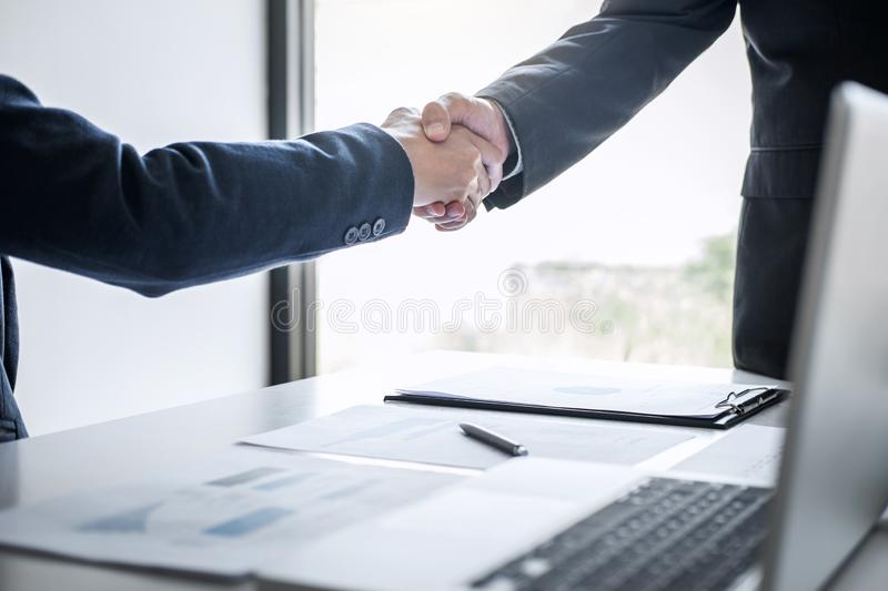 Meeting and greeting concept, Two confident Business handshake and business people after discussing good deal of Trading contract. And new projects for both stock images