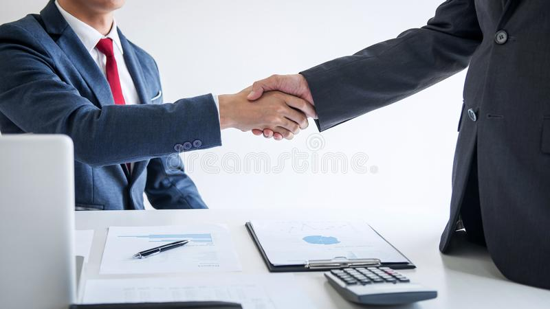 Meeting and greeting concept, Two confident Business handshake and business people after discussing good deal of Trading contract stock photos