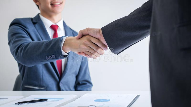 Meeting and greeting concept, Two confident Business handshake and business people after discussing good deal of Trading contract. And new projects for both stock photos