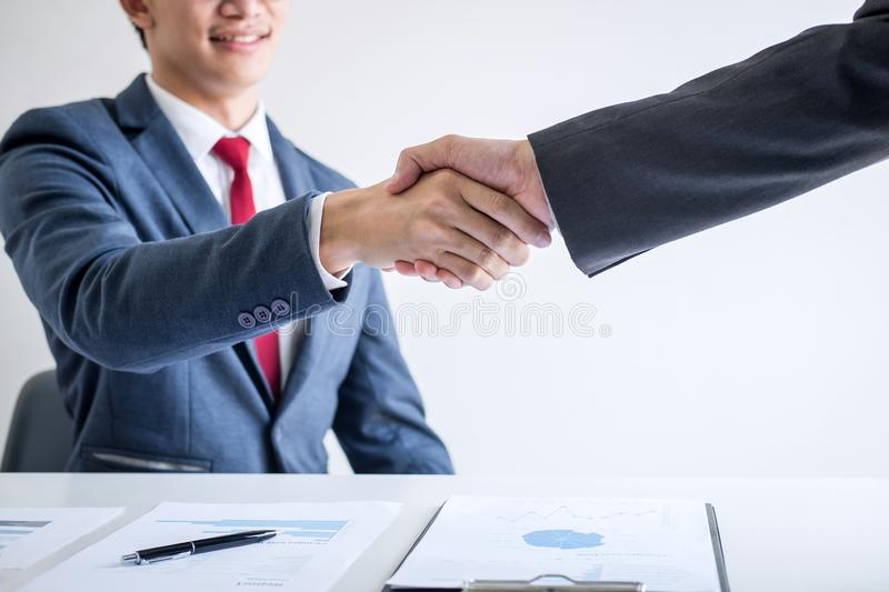 Meeting and greeting concept, Two confident Business handshake and business people after discussing good deal of Trading contract. And new projects for both royalty free stock images