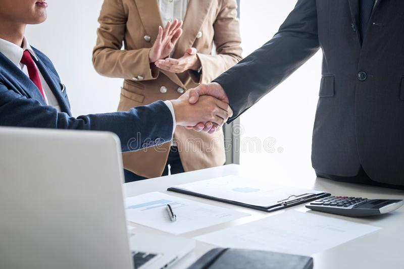 Meeting and greeting concept, Two confident Business handshake and business people after discussing good deal of Trading contract royalty free stock photography